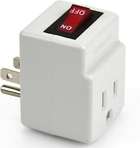 3 Prong Grounded Single Port Power Adapter with Red Indicator On/Off Switch, 1pk
