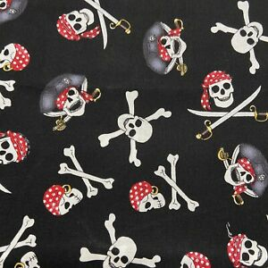 "Black Pirate Skull Day Of The Dead Cotton Fabric By 1 4 Yard Or FQ 18""x21"""