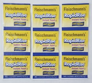 3-Strips Fleischmann's RAPID RISE INSTANT YEAST, (9-Packets total), Exp:06/2022