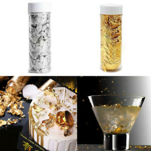 1 Jar Edible Goldleaf Silver Foil Paper Flakes Cake Toppers - Cake Food Decorate
