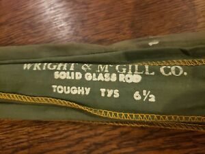 VINTAGE WRIGHT & MCGILL TOUGHY TYS 6 12' SQUARE GLASS SPINNING ROD CLOTH COVER