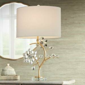 Modern Table Lamp Branching Gold Crystal Flower Oval Shade Living Room Bedroom
