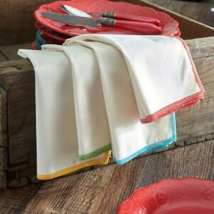 NEW Set of 8 Pioneer Woman Bright Whipstitch Napkins teal yellow green red