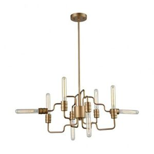 Sputnik Style Eight Light Chandelier with Exposed Bulbs and Controlled Chaos