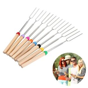 Portable Barbecue Stick With Wooden Handle Telescopic Barbecue Fork BBQ Tool