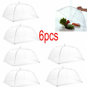 US 6 Pack Pop-Up Mesh Screen Food Cover Tent Umbrella White Outdoor Picnic BBQ
