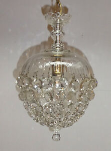 CRYSTAL BAG CHANDELIER / FRENCH PARIS APARTMENT CRYSTAL CHANDELIER CEILING MOUNT