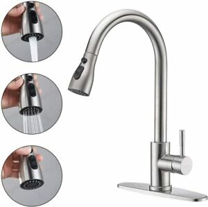 Brushed Nickel Kitchen Faucet Sink Swivel Spout Deck Mounted with Cover Plate