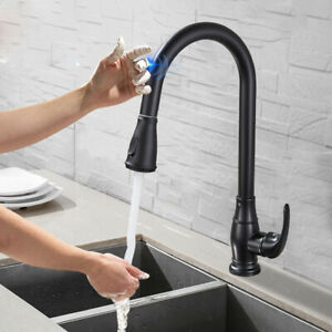 Brushed Nickel Kitchen Faucet Sink Swivel Spring Deck Mounted with Cover Plate