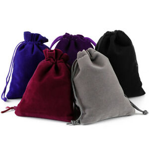 25-100 Velvet Drawstring Pouch Jewelry Baggie Ring Party Wedding Gift Bag Set