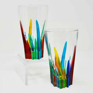 Murano Drinking Glasses, Colorful Crystal Glasses - Set of 2