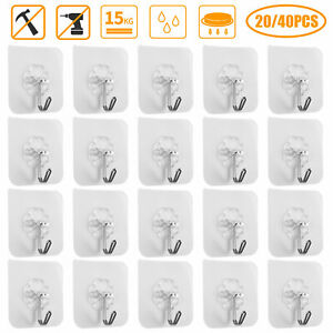 20 40x Adhesive Sticky Hooks Heavy Duty Wall Seamless Hooks Hangers Transparent