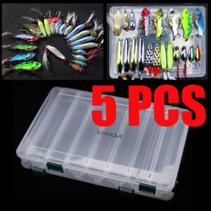 5x Double Sided 14 Compartments Fishing Lure Tackle Storage Box Case Container
