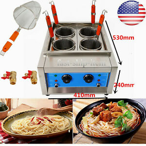 Commercial 4 Holes Noodle Cooking Machine Electric Pasta Cooker w/ Filter Basket