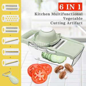5in1/6in1 Steel Mandoline Slicer Blades Kitchen Vegetable Food Cutter Container