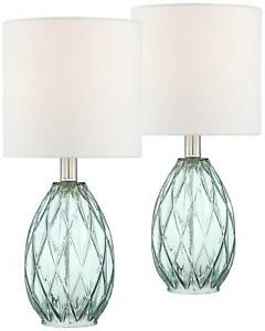Modern Accent Table Lamps 17 1 2quot; Set of 2 Blue Green Glass for Bedroom Office $59.99