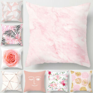 18#x27;#x27; Pillow Cases Nordic Pink Polyester Throw Cushion Cover Sofa Home Decoration