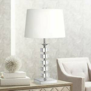 Modern Table Lamp Crystal Glass Stacked Cubes for Living Room Family Bedroom