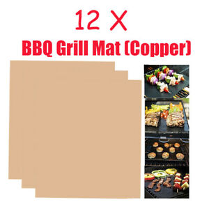12 x BBQ Grill Mat  Non-Stick Reusable Safe Sheet Bake Cook Oven Liner Copper