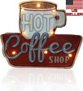 Coffee Retro Metal Tin Sign Posters LED Light Box Kitchen Cafe Bar Wall Art USA