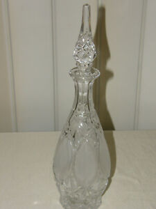 Vintage Cut Glass Crystal Tall Wine Liquor Decanter w Crystal Stopper frosted
