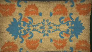 Natural Rubber Decorative Woven Rug, 2 x 3