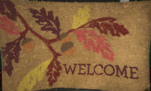 Natural Rubber Decorative  Mat Leaf Welcome Woven Rug, 2 x 3