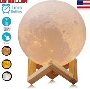 3D Printing Moon Lamp USB LED Night Lunar Light Touch And Remote Color Changing