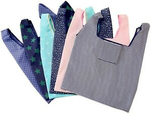 6 Pack of Folding Reusable Grocery Bags,Washable Waterproof Nylon holds Heavy