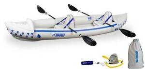 Sea Eagle 370 Pro 3 Person Inflatable Kayak Canoe Boat w Paddles Open Box