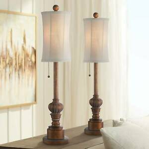 Traditional Buffet Table Lamps Set of 2 Wood Fabric for Living Room Bedroom