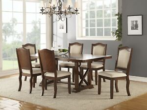 Beautiful Lovely Kitchen Dining Room Table Set Cream Fabric Cushion Chairs Chair