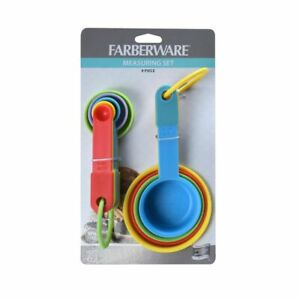 Farberware Set of 9 Measuring Set Spoons and Cups MultiColor Durable Plastic