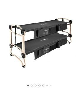 Disc-O-Bed Large with Side Organizers & Rubber Foot Pads Camping Cot Bunk for 2