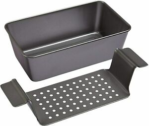 Chicago Metallic Professional Healthy Meatloaf Pan with Insert 2 Piece Set Gray