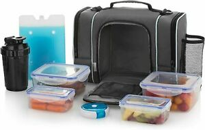 Large Insulated Meal Prep Lunch Bag Food Containers Boxes Leakproof + Ice Pack