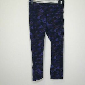 Lululemon Womens Crop Pant Size 6 Black Purple Camo Cropped Legging Athletic