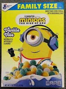 NEW GM FAMILY SIZE MINIONS THE RISE OF GRU VANILLA VIBE CEREAL 16 OZ (453g) BOX