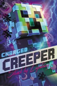 MINECRAFT GAMING POSTER PRINT CHARGED CREEPER STRUCK BY LIGHTNING
