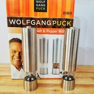 WolfGang Puck Electric Salt and Pepper Mill Set Open Box Condition