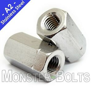 Stainless Steel Hex Coupling Nuts, A2 / 18-8 DIN 6334 - Metric M5 M6 M8 M10 M12