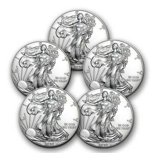 SPECIAL PRICE! 2020 1 oz Silver American Eagle BU - Lot of 5 Coins $128.05