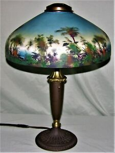 VINTAGE ANTIQUE PITTSBURGH REVERSE PAINTED TABLE LAMP CIRCA EARLY 1900#x27;s $599.99