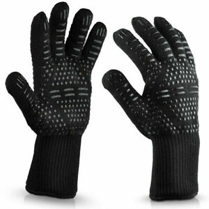 2PCS BBQ Gloves Heat Resistant Grill Oven Mitts Black Durable Roast chicken