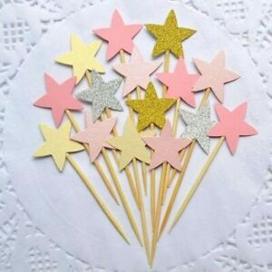 24 Pink and Gold Glitter Star cupcake toppers food picks