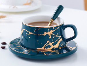 3 Colors Choosing Porcelain Tea Cup and Saucer Coffee Cup Set With Spoon New
