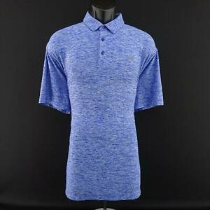 Men Under Armour Heatgear Loose Fit Blue Golf Polo Shirt Size XL Casual Athletic $26.99