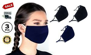 Reusable Face Mask Washable Double-Layer Cotton Facial Cover adjustable 3PACK