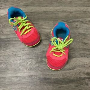 Under Armour 4 Kids Tennis Shoes Pink Green GUC Normal Wear On Bottoms $15.00