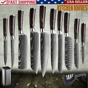 Pro Kitchen Chef Knife Set Stainless Steel Damascus Pattern Sharp Cleaver Knife